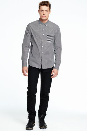 Baumwoll-Langarmhemd mit Streifen-Varianten für Herren