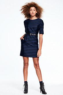 Women's 3-Quarter Sleeve Stripe Shift Dress
