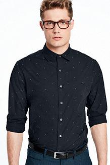Modernes Popelin-Hemd mit Punkte-Dessin für Herren, Langarm