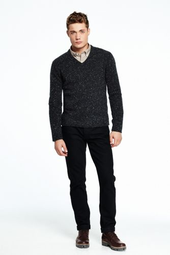 Men's Flecked V-neck Sweater