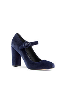 Women's Velvet Block Heel Mary Jane Shoes