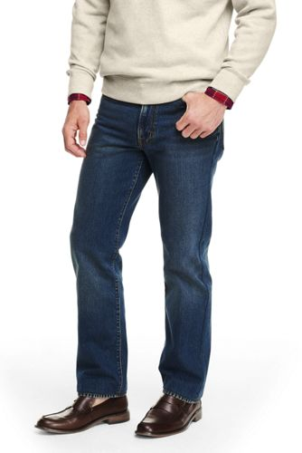 Mens Straight Fit Flannel-lined Jeans - 40 30 - BLUE Lands End