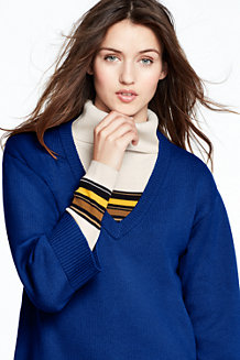 Women's Wool Blend Boxy V-neck