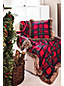 Plaid Jersey Throw with Faux Fur Trim