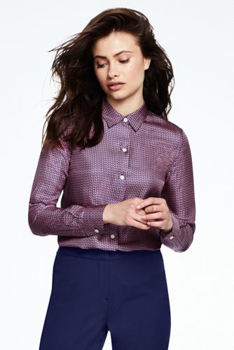 Women's Print Slim Collar Silk Shirt
