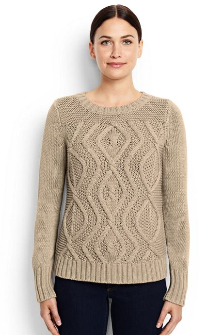 Women's Petite Drifter Cotton Cable Sweater