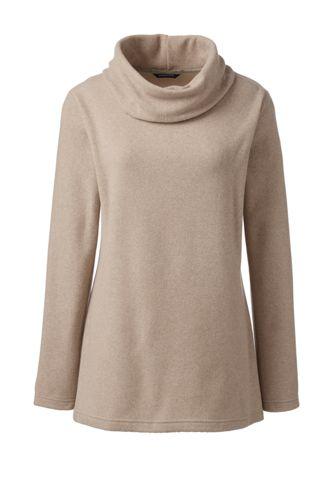 Langer Fleece-Pullover mit Wasserfallkragen