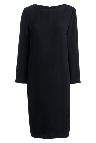 Womens Regular Boatneck Cocoon Dress - 10 - BLACK Lands End