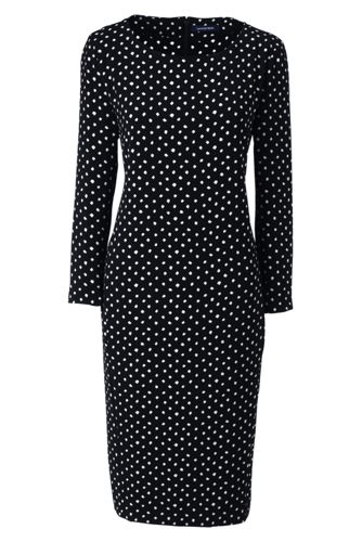 Women's Regular Boatneck Cocoon Dress, Print