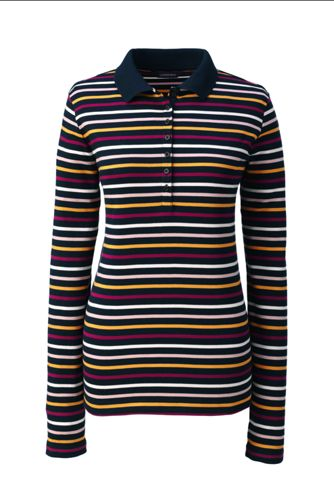 Women's Regular Stripe Pima Polo