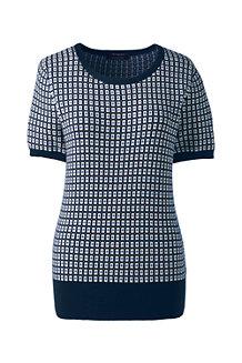 Supima Kurzarm-Pullover mit Jacquardmuster für Damen