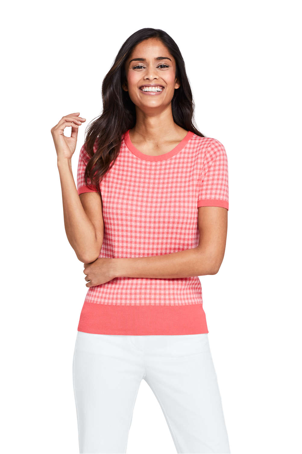 b537421aa2 Women s Short Sleeve Supima Jacquard Sweater from Lands  End