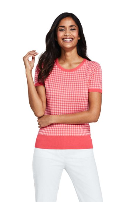 Women's Short Sleeve Supima Jacquard Sweater