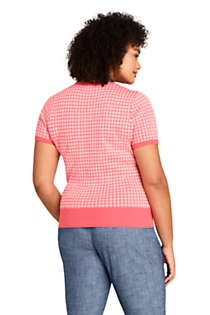 Women's Plus Size Short Sleeve Supima Jacquard Sweater, Back