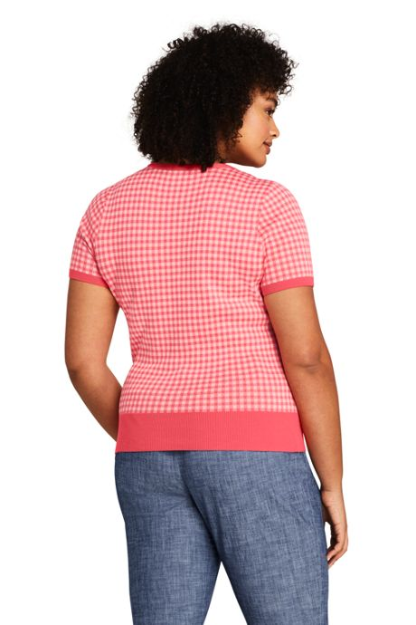 Women's Plus Size Short Sleeve Supima Jacquard Sweater