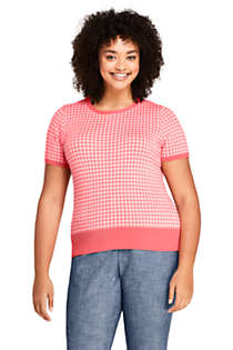 Women's Plus Size Short Sleeve Supima Jacquard Sweater, Front