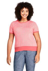 Women's Plus Size Short Sleeve Supima Jacquard Sweater