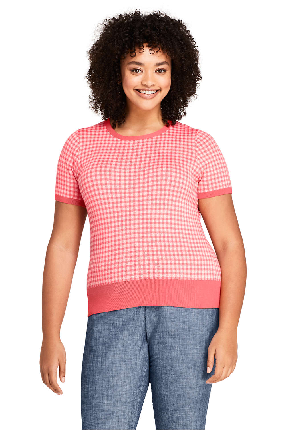 646cb9c760 Women s Plus Size Short Sleeve Supima Jacquard Sweater from Lands  End
