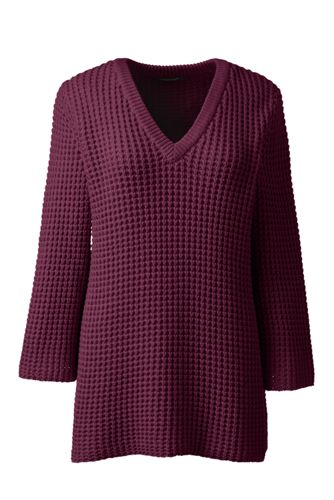 Leichter Waffelstruktur-Pullover mit V-Ausschnitt