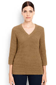 Women's Tall Lofty 3/4 Sleeve V-neck Sweater