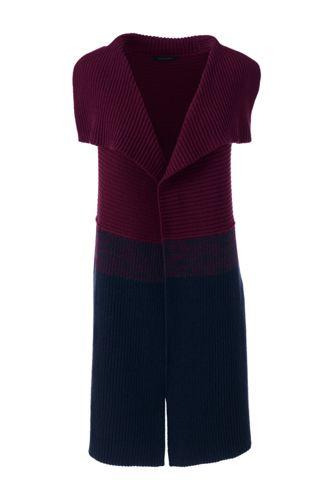 Women's Regular Lofty Cotton Waterfall Sleeveless Cardigan