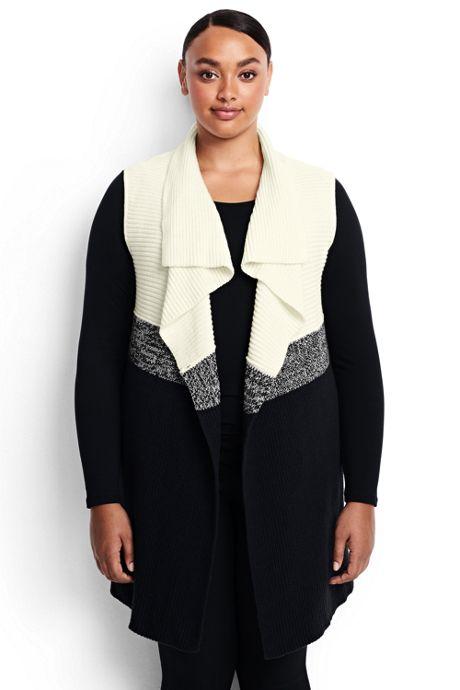 Womens Plus Size Lofty Colorblock Waterfall Sweater Vest Cardigans