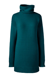Langer Rollkragen-Pullover im Baumwoll-Mix