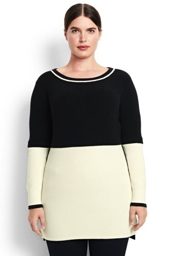 Women's Shaker Colorblock Tunic Sweater from Lands' End