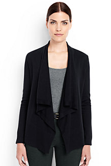Women's Fine Gauge Cotton Waterfall Cardigan