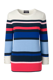 Women's Striped Fine Gauge Supima Crew Neck Jumper