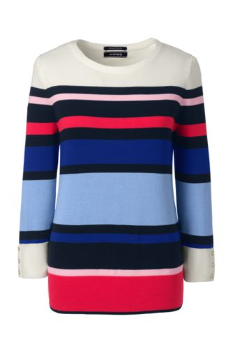 Women's Regular Striped Fine Gauge Supima Crew Neck Jumper