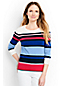 Le Pull Supima® Rayé Manches 3/4, Femme Stature Standard