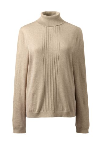 Women's Regular Fine Gauge Supima® Rib Front Roll Neck Jumper