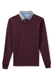 Men's Long Sleeve Woven Collar Supima® Polo