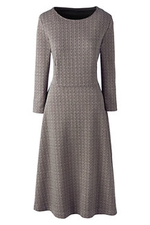 Women's 3-Quarter Sleeve Jacquard Flounce Dress