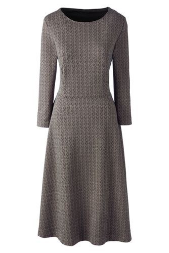 La Robe Jacquard Chic Manches 3/4 Femme, Taille Standard
