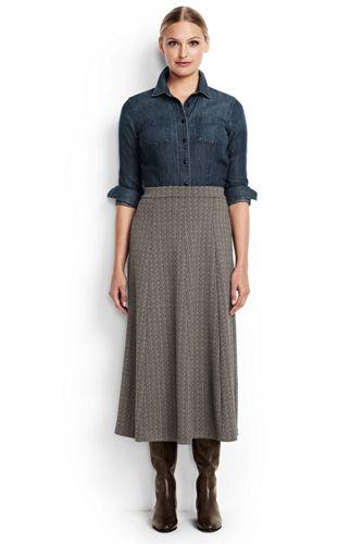 Women's Regular Jacquard Ponte Jersey Midi Skirt