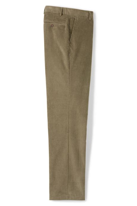 Men's Tailored Fit Plain Front 10-wale Corduroy Trousers