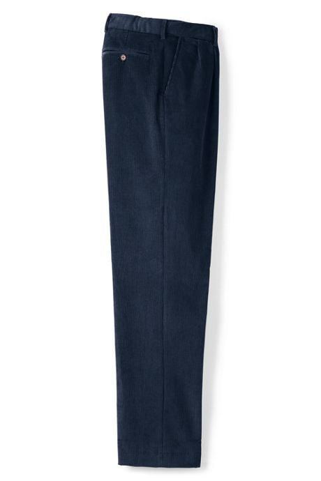 Men's Comfort Waist Pleat Front 10-wale Corduroy Dress Trousers