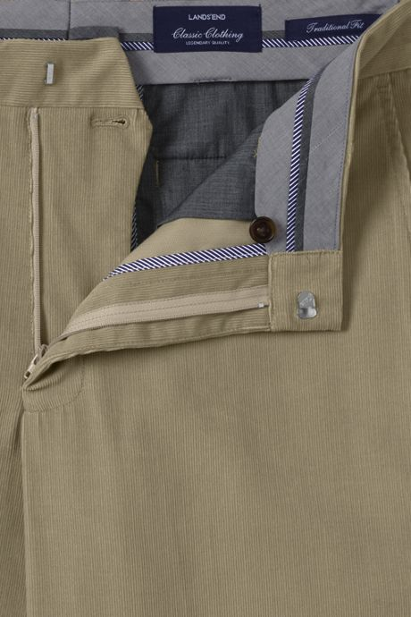 Men's Traditional Fit Plain Front 18-wale Corduroy Trousers