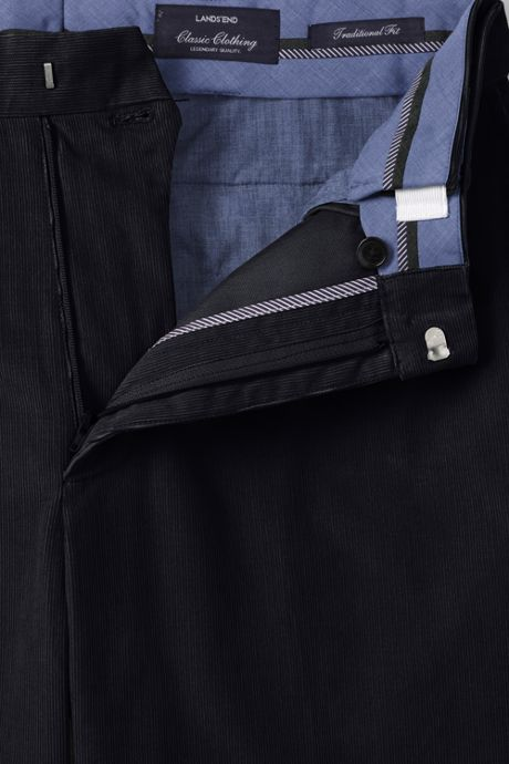Men's Traditional Fit Comfort Waist Pleat Front 18-wale Corduroy Trousers