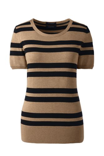 Women's Regular Short Sleeve Striped Supima® Jewelneck Jumper