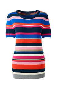 Women's Tall Short Sleeve Supima Stripe Sweater