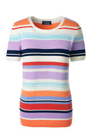 Women's Petite Short Sleeve Supima Stripe Sweater
