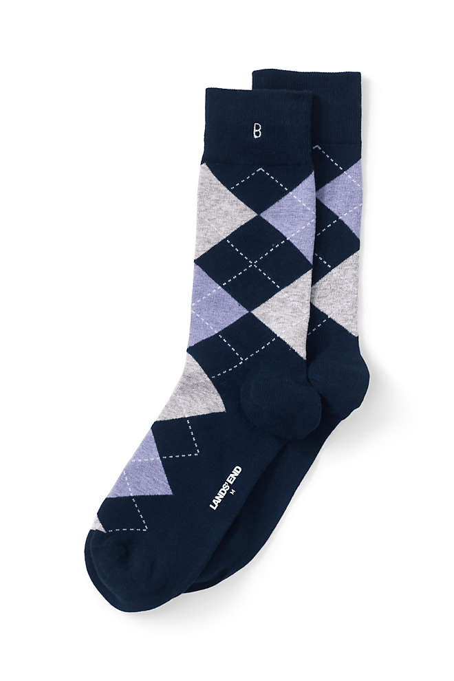 Men's Seamless Toe Cotton Pattern Dress Socks (1-pack), Front