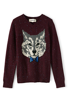 Boys' Wolf Print V-Neck Sweater