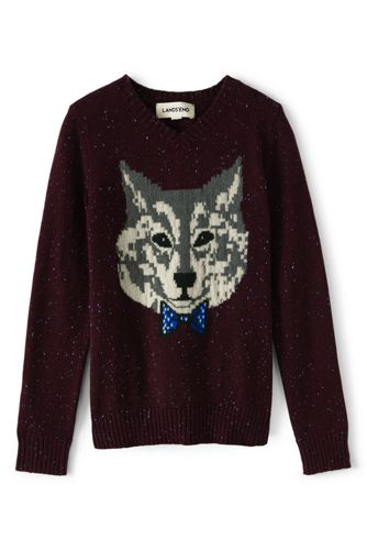 d300fc9f685 Boys  Wolf Print V-Neck Sweater