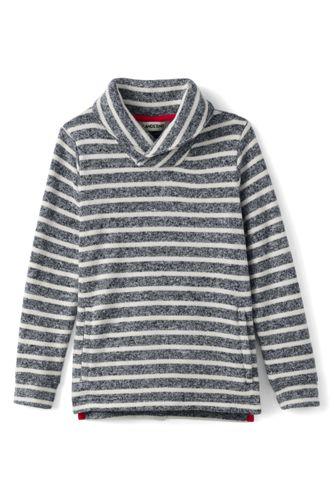 Gestreifter Schalkragenpullover aus Fleece für kleine Jungen