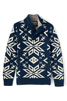 Boys' Snowflake Button Polo Neck Jumper