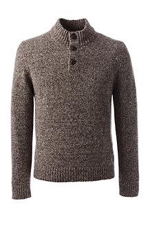 Men's Marled Button-neck Sweater